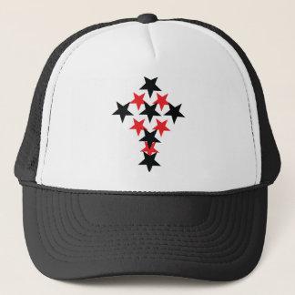 red-black star cross trucker hat