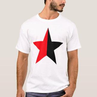 Red & Black Star on Mens White T-Shirt