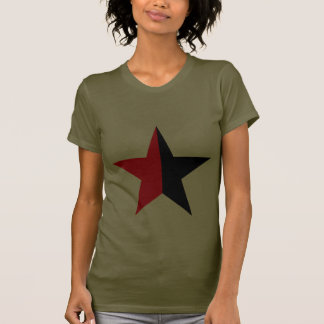 Red & Black Star on Womans Army Green T Shirt