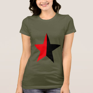 Red & Black Star on Womans Army Green T-Shirt