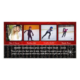 Red/Black Stars 4 Photos - Christmas Photo Card