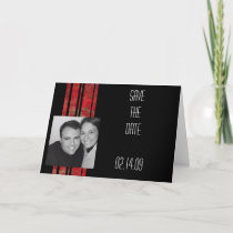Red & Black Stripe Photo Save the Date Announcement