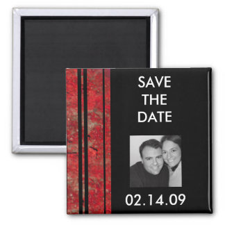 Red & Black Stripe Photo Save the Date Magnet
