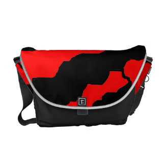 Red & Black stripes Courier Bag