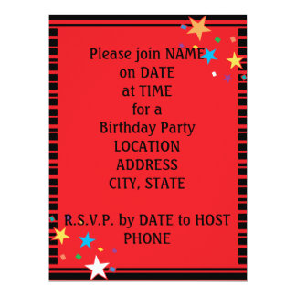 Red Black Stripes Oval Party Collage Invitation