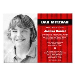 Red Black Stripes Photo Bar Mitzvah Invitations Cards