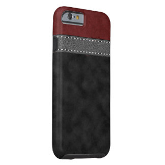 Red Black Suede Grey Leather Stitched Strap Tough iPhone 6 Case