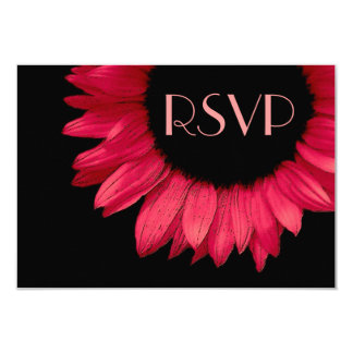 Red Black Sunflower Wedding RSVP Response Small Card