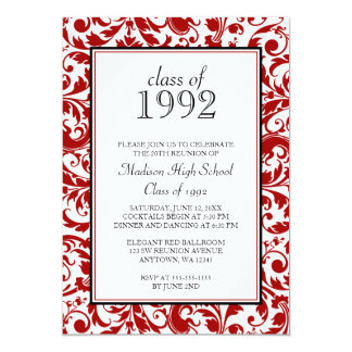 Red Black Swirl Damask Class Reunion Invitations
