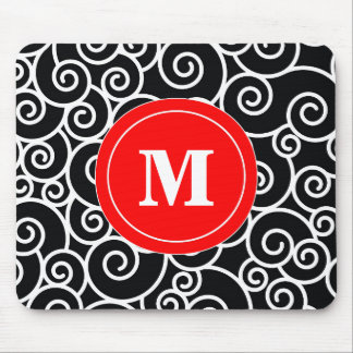 Red Black Swirl Monogram Mouse Pad. Mouse Pad