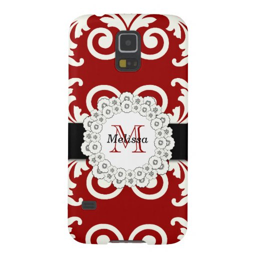 Red Black Swirls Damask, Your Name Galaxy S5 Case