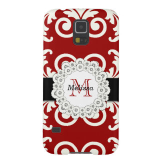 Red Black Swirls Damask, Your Name Galaxy S5 Cover