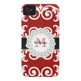 Red Black Swirls Floral iPhone 4 Case-Mate