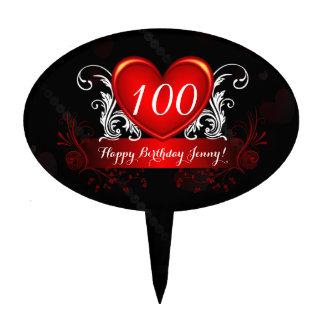 Red Black Swirly Heart Happy 100th Birthday Cake Topper