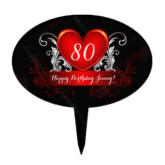 Red Black Swirly Heart Happy 80th Birthday Cake Topper