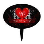 Red Black Swirly Heart Happy 90th Birthday Cake Toppers