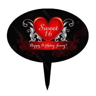Red Black Swirly Heart Sweet 16 Happy Birthday