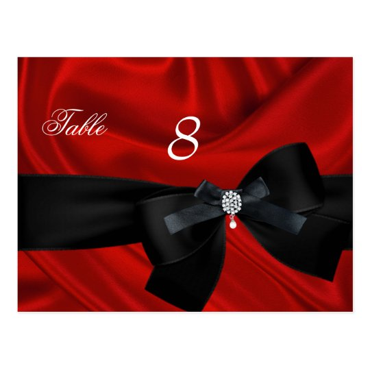 Red Black Table Number Seating Place Card
