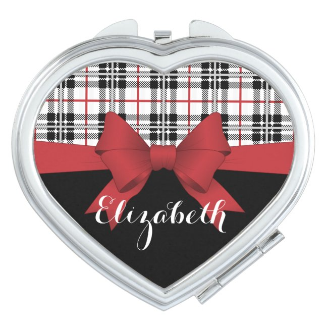Red Black Tartan Pattern and Ribbon Elegant Cute