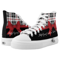 Red Black Tartan Pattern and Ribbon Girly Cute High-Top Sneakers