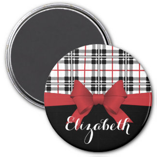Red Black Tartan Pattern and Ribbon Girly Cute Magnet