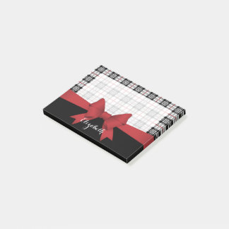 Red Black Tartan Pattern and Ribbon Girly Cute Post-it Notes