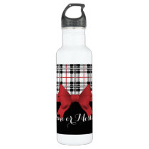 Red Black Tartan Pattern and Ribbon Girly Cute Stainless Steel Water Bottle