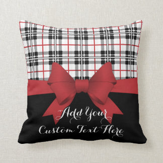 Red Black Tartan Pattern and Ribbon Girly Cute Throw Pillow