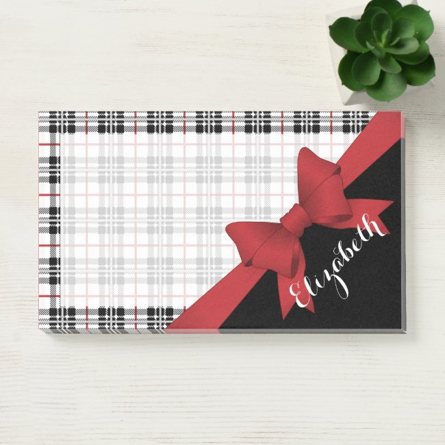 Red Black Tartan Pattern and Ribbon Modern