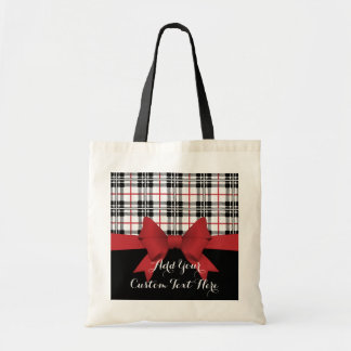 Red Black Tartan Plaid and Ribbon Cute Kids Custom Tote Bag