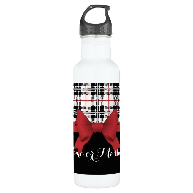 Red Black Tartan Plaid and Ribbon Cute Kids Name