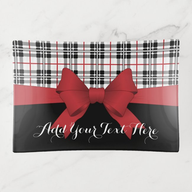 Red Black Tartan Plaid and Ribbon Girly Modern