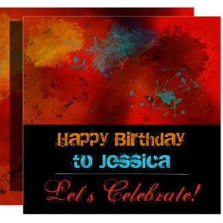 Red, Black, Teal & Gold Abstract Birthday Party Card