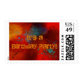 Red, Black, Teal & Gold Abstract Birthday Party Postage