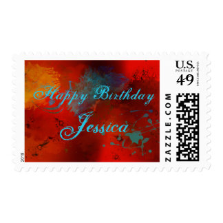 Red, Black, Teal & Gold Abstract Happy Birthday Postage