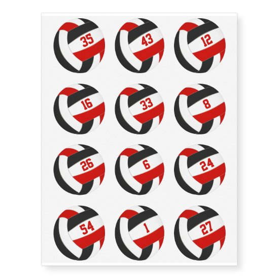 red black team color volleyballs w jersey numbers temporary tattoos