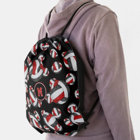 red black team colors girly volleyballs pattern drawstring bag