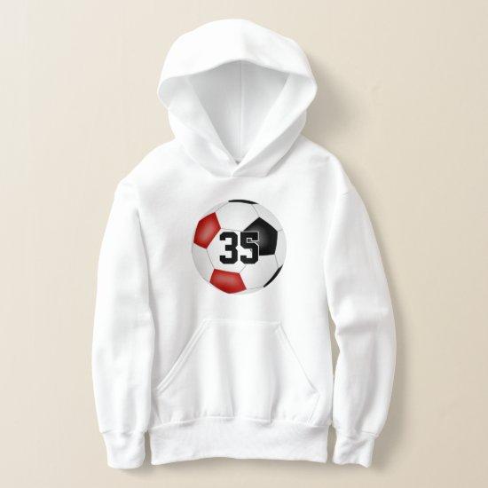 red black team colors jersey number soccer hoodie