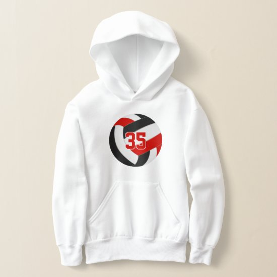 red black team colors jersey number volleyball hoodie