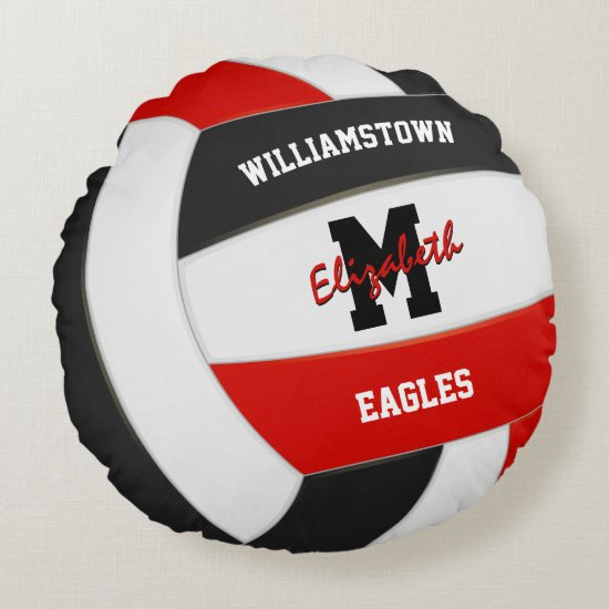 red black team colors kids volleyball room decor round pillow