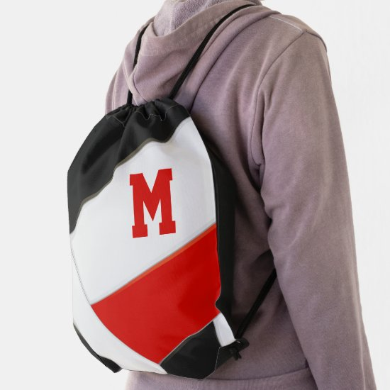 red black team colors monogrammed volleyball drawstring bag