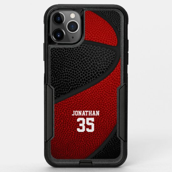 red black team colors personalized basketball OtterBox commuter iPhone 11 pro max case