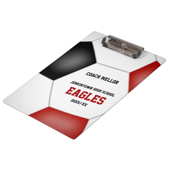 red black team colors personalized soccer coach clipboard