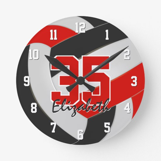 red black team colors players name volleyball round clock