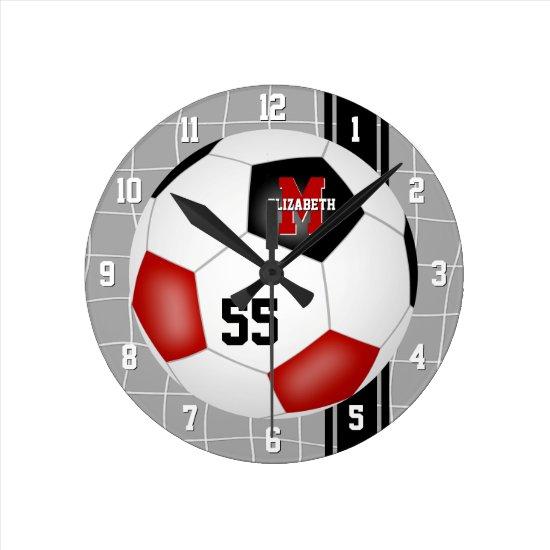 red black team colors varsity stripes soccer round clock