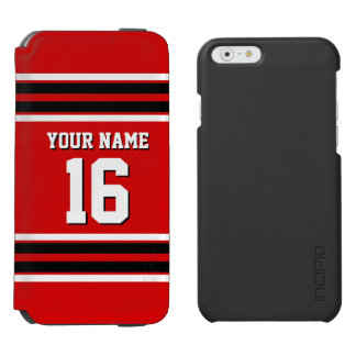 Red Black Team Jersey Custom Number Name iPhone 6/6s Wallet Case
