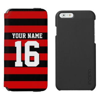 Red Black Team Jersey Preppy Stripe iPhone 6/6s Wallet Case