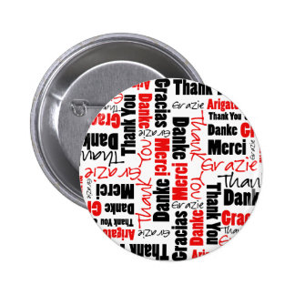 Red Black Thank You Word Cloud Button