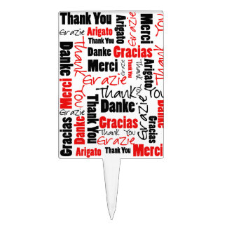 Red Black Thank You Word Cloud Cake Topper