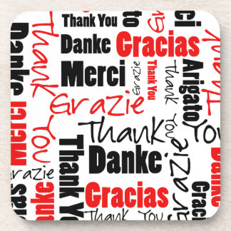 Red Black Thank You Word Cloud Drink Coasters